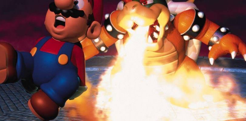 Bowser burning Mario