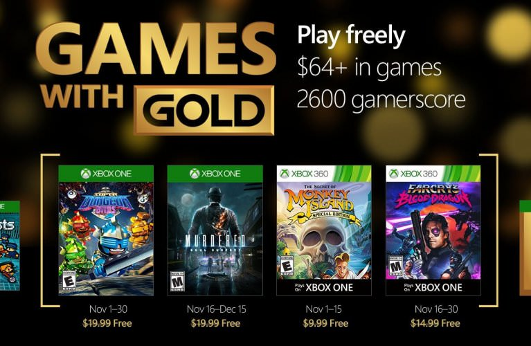 Games with Gold for November 2016 on Xbox One and Xbox 360